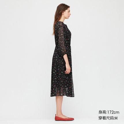 Đầm Quần áo nữ (UT) Niềm vui của đầm voan in (Tay áo quý) 426611 UNIQLO