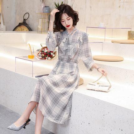 Goldfarm Thời trang nữ Gao Fan 2020 mùa xuân mới Hàn Quốc đầm voan kẻ sọc giữa chiều dài eo áo sơ mi