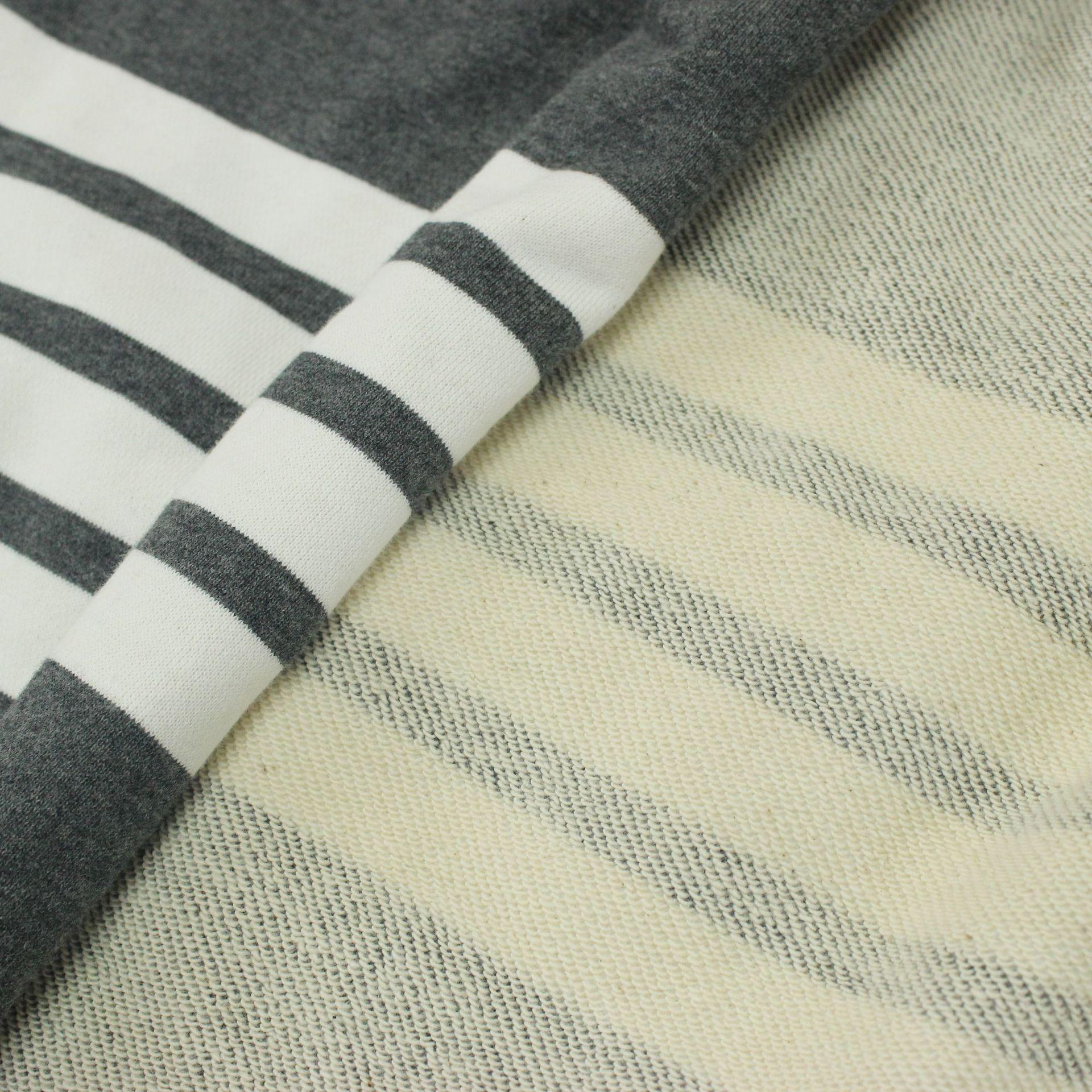 Vải French Terry (Vấy cá) Vải lanh tối màu xám bốn thanh vải len TB vải terry 360 g vải len mùa thu