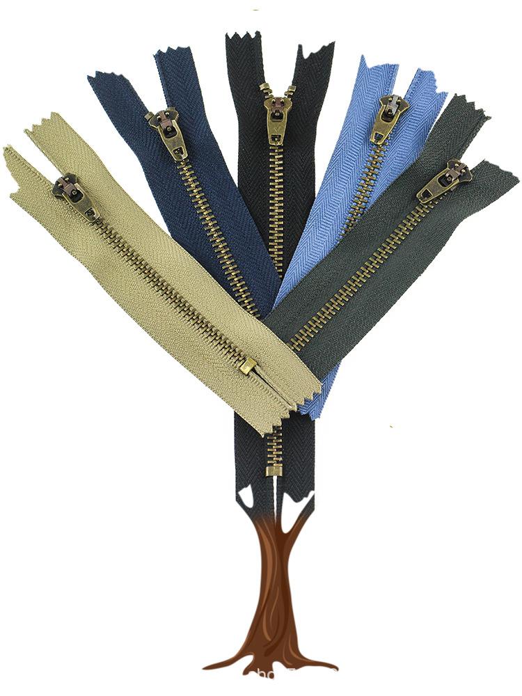 Dây kéo kim loại Số 4 khép kín kim loại đồng dây kéo quần túi kéo dây kéo túi túi màu đen khóa kéo t