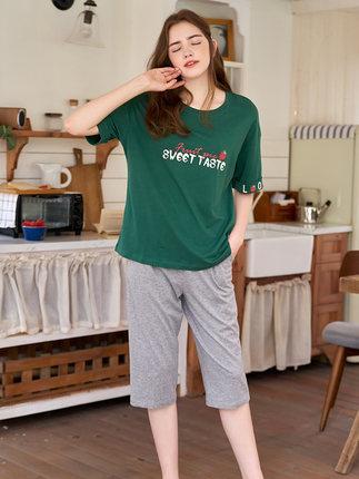 Qiulu Đồ ngủ Đồ ngủ nữ Qiulu mùa hè cotton chữ trung tay có thể được mặc bên ngoài quần cắt phần mỏn