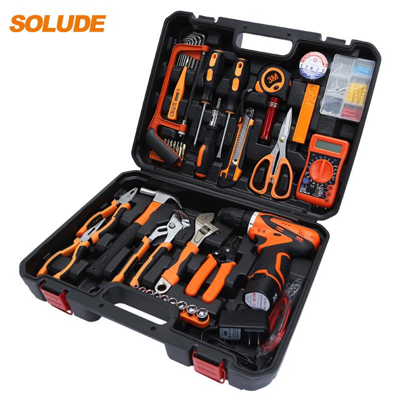 SOLUDE Dụng cụ tổng hợp Sorende Công cụ phần cứng Máy khoan điện va chạm điện Bộ dụng cụ bảo trì điệ