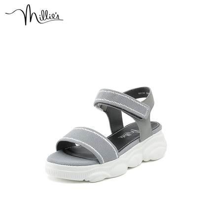 Millie's phong cách thể thao của Millie / Miao Lixia đế dày giày đế dày với dép Velcro 92132BL9