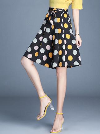 Quần Quần chấm bi 5 điểm quần nữ Xia cao eo rộng quần lửng voan rủ mỏng mỏng chân rộng quần mỏng một