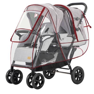 XIAOYANGSHANGSHANG Xe đẩy trẻ em Phổ thông xe đẩy em bé sinh đôi xe đẩy em bé che mưa đôi phía trước