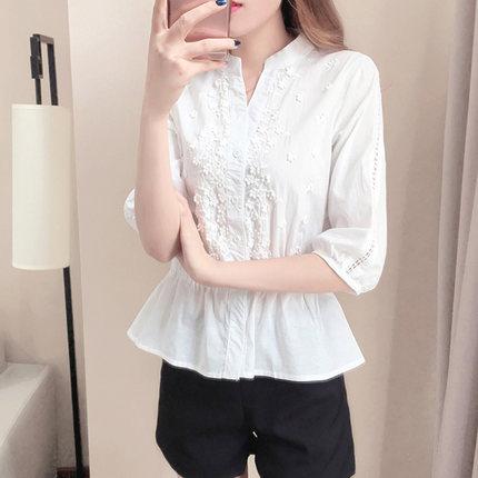 Áo sơ mi 2020 xuân mới áo trắng nữ thiết kế cảm giác thích hợp váy nhỏ áo eo eo retro hương vị Hồng