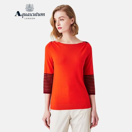 Aquascutum áo thun / Yage Shidan mùa xuân và mùa hè áo len mới cho phụ nữ khâu áo mỏng