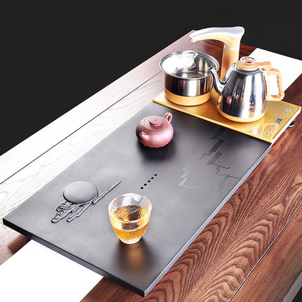 Khay trà bằng đá Ujin đặt bàn trà khay trà cảm ứng bếp tự động .