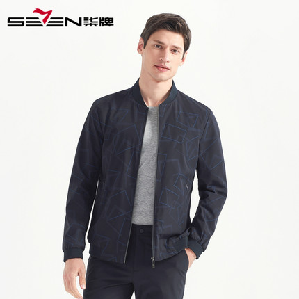 Seven7 Áo khoác nam thương hiệu Qi 2020 mùa xuân mới dành cho nam kinh doanh áo khoác màu đen xu hướ