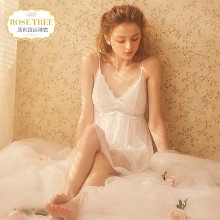 Đồ ngủ Dây đeo hoa hồng cho nữ mùa hè ren mỏng gợi cảm với phần đệm ngực cổ tích gió công chúa cung