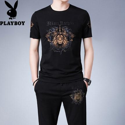Playboy Đồ Suits  mùa hè phù hợp với nam ngắn tay áo sơ mi giản dị phù hợp với nam đẹp trai hợp thời
