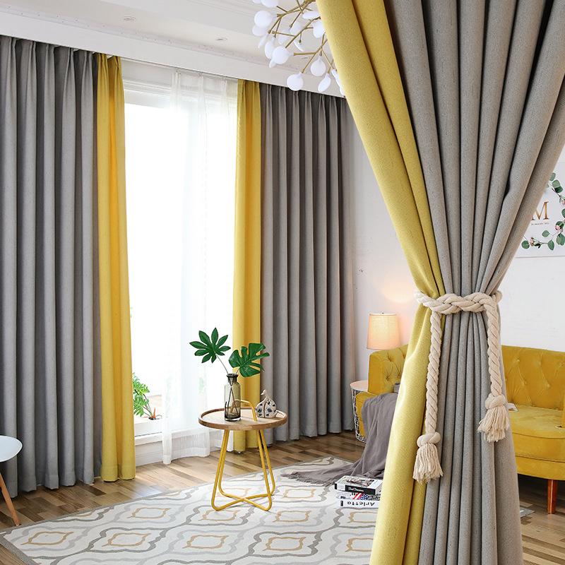 Vải rèm cửa Nhà máy trực tiếp hạt mưa Bắc Âu và vải lanh rèm vải màu phù hợp với rèm cửa cao phòng n
