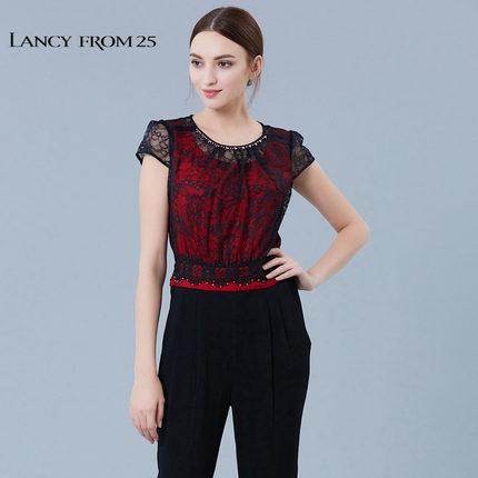 LANCY FROM 25 Thời trang nữ LANCY Langzi quầy nữ chính hãng mùa hè tương phản ren khâu jumpsuit thẳn