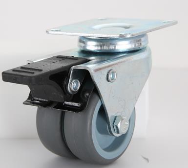 JIELISHI bánh xe đẩy(Bánh xe xoay) 2 inch phẳng caster cao su câm phổ bánh xe văn phòng TPR caster đ