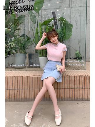 LIEBO váy Tơ lụa 2020 mùa hè mới tươi a-line váy ngắn lưới xếp li cải tiến Hanfu cheongsam denim váy