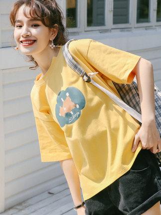 áo thun  Cô gái ma ngựa in áo thun ngắn tay nữ nhỏ nam lỏng lẻo phiên bản Hàn Quốc của siêu lửa 2020