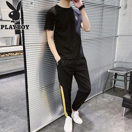 Playboy Đồ Suits  nam giản dị phù hợp với mùa hè lụa tay ngắn với một bộ quần áo nam đẹp trai hợp th