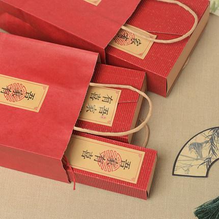 Wenxian Yiyan Túi giấy đựng quà  Marry Retro Tote Túi quà tặng Túi Tote Túi quà tặng Túi kẹo cưới Tú