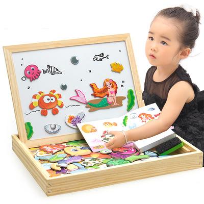 XIAOSHUOSHI Đồ chơi bằng gỗ Chủ nhỏ động vật từ chính tả âm nhạc bảng vẽ câu đố ba chiều thay đổi bả