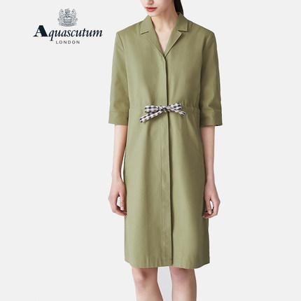 Aquascutum áo thun / Yage sư tử xuân và hè mới V-cổ ngắn tay phù hợp với cổ áo nơ dài giữa phụ nữ