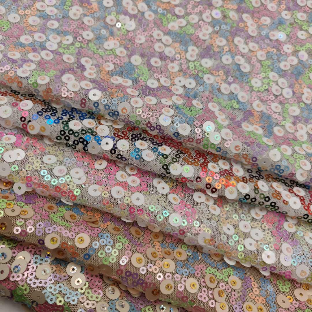 Vải thêu Tại chỗ đầy màu sắc hỗn loạn thêu 3 + 5mm hạt thêu vải lưới sequin thời trang quần áo vải h