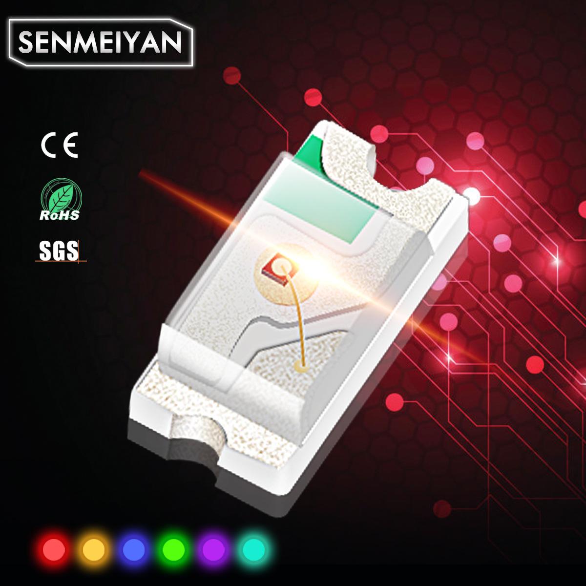 SENMEIYAN LED dán Đèn LED siêu sáng SMD 0402 ánh sáng đỏ ánh sáng đỏ 1005 đèn LED màu đỏ hạt