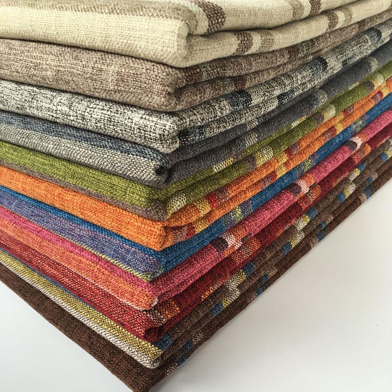 Vải Linen Vải kẻ sọc polyester và vải lanh thô vải lanh gối sofa lanh vải lanh sọc nhà máy bán buôn