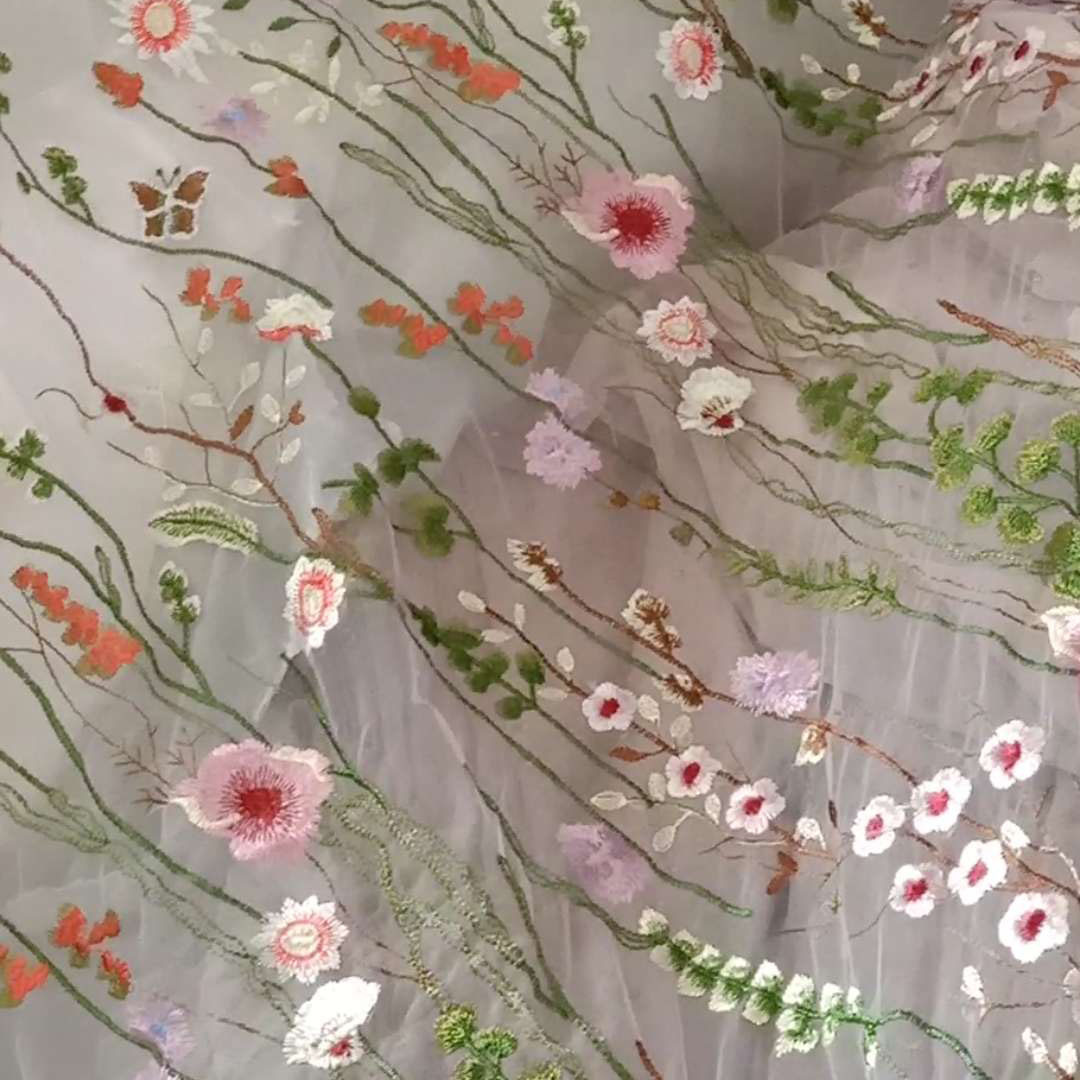 SHAOYUE Vải thêu cỏ chín màu mới Mùa xuân và mùa hè Phụ nữ váy vải thêu lưới dệt vải