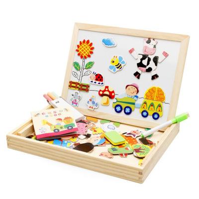 GUANGLV Xếp hình 3D bằng gỗ Bóng gỗ đồ chơi trẻ em câu đố bằng gỗ giả động vật đánh vần âm nhạc hai