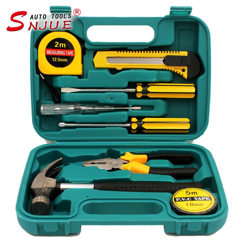 SNJUE Dụng cụ tổng hợp Hộp công cụ phần cứng gia đình 9 món với công cụ kết hợp quà tặng thiết thực