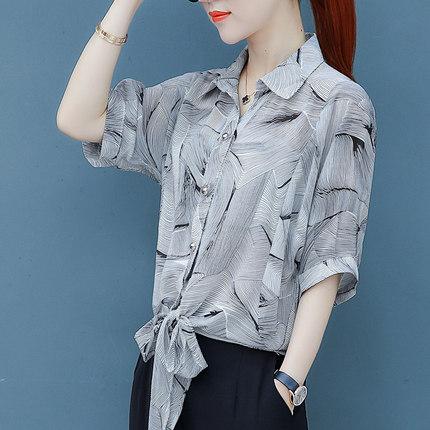 Áo sơ mi Xia Yangqi áo sơ mi voan tay ngắn nữ sơ mi nữ 2020 mới rất cổ tích váy hoa mỏng manh áo sơ