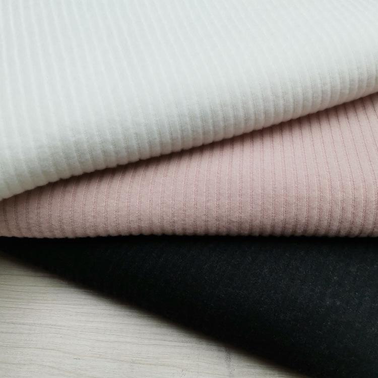 SHIDIFANG Vải Rib bo 32S cộng với vải nhung sọc dọc dệt kim 4X2 thun sườn sọc sọc vải đáy áo thời tr