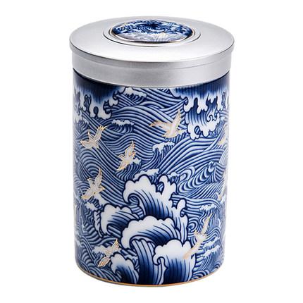 Rongshantang Hũ kim loại  Lon sứ trắng sơn lon lớn và nhỏ gốm niêm phong màu xanh và trắng lon lưu t