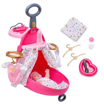 Đồ chơi xe đẩy hành lý mô phỏng đa chức năng cho bé gái .
