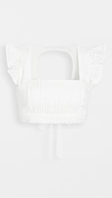 MINKPINK Thời trang nữ Mùa hè 2020 Mới ~ MINKPINK Cổ áo ruffle tay áo rỗng ngắn hàng đầu