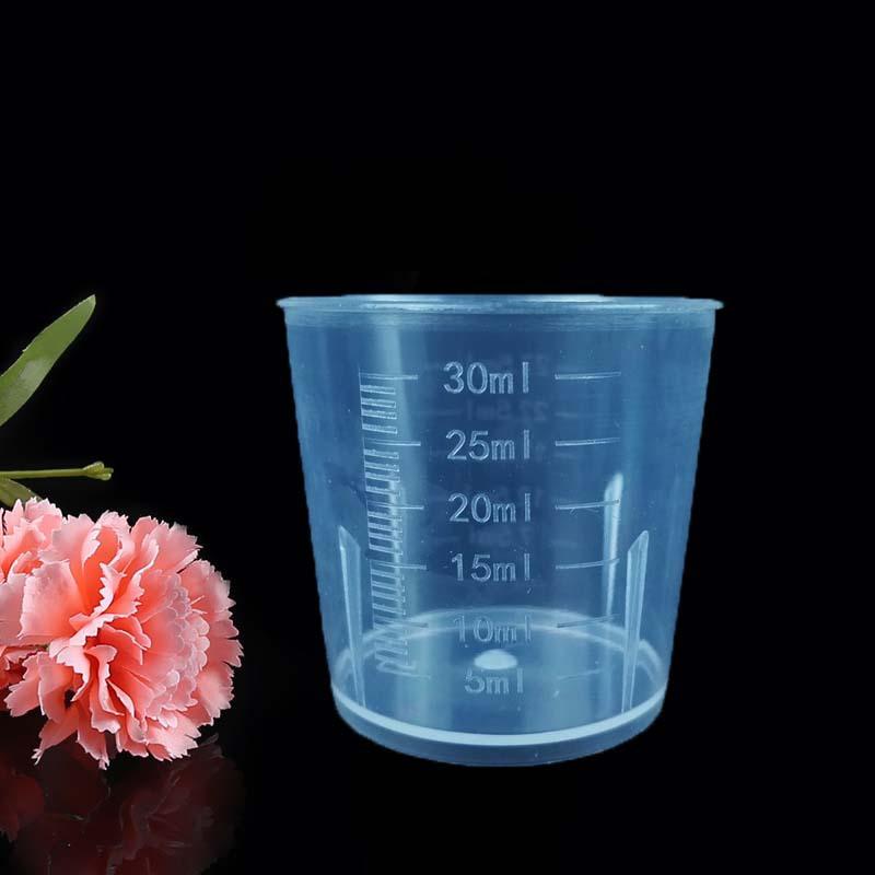 RUNFA Ống nghiệm Cốc đo lường bằng nhựa 30ML Cốc đo bằng nhựa nhỏ Cốc đo 30 ml dụng cụ phòng thí ngh