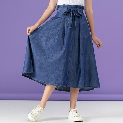 Jeanswest váy Zhenweisi của phụ nữ 2020 mùa hè mới 5,5 antisense vải lụa nụ đàn hồi eo thắt nút nửa