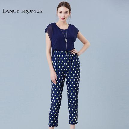 LANCY FROM 25 Thời trang nữ LANCY Langzi nữ mùa hè màu sắc rắn polka dot màu jumpsuit