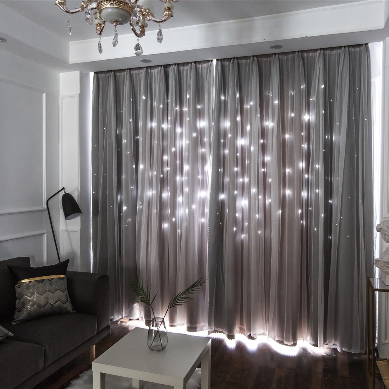 Vải rèm cửa Tùy chỉnh màn rèm vải đôi sao rỗng rèm cửa nhà máy trực tiếp bán buôn phòng ngủ rèm đơn