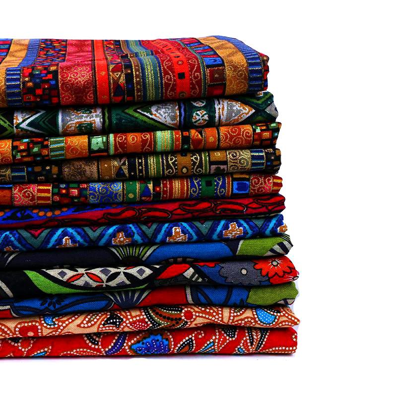 Vải Cotton pha Nhà máy bán hàng trực tiếp vải cotton và vải lanh dân tộc, hàng gia dụng, quần áo in