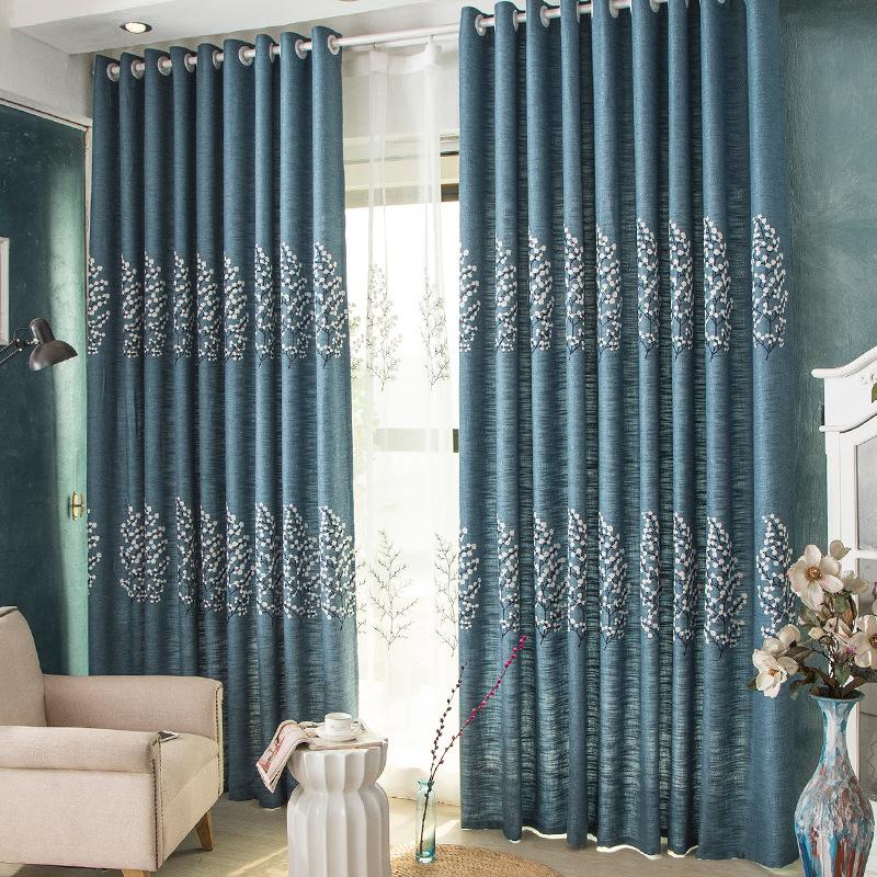Vải rèm cửa Rèm vải nhà máy bán trực tiếp phòng khách phòng ngủ thô ba chiều thêu rèm màu xanh bông
