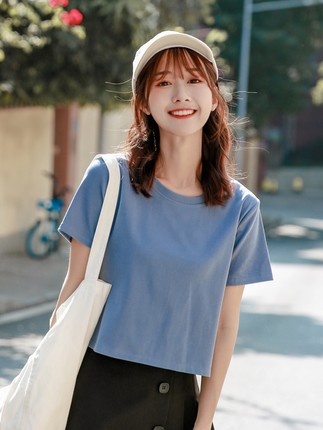 áo thun  Áo thun ngắn tay nữ ngắn cotton rộng 2020 mới hàng đầu eo cao Slim nửa tay tay áo hở rốn
