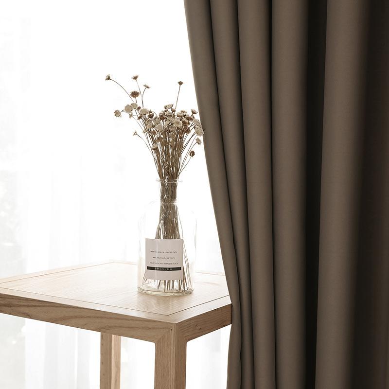 Vải rèm cửa Rèm cửa mới Đơn giản hiện đại màu đơn sắc độ chính xác cao Rèm cửa phòng ngủ phòng khách