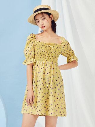 Xiyu Váy đầm nữ cổ yếm bong bóng tay áo 2020 mùa xuân mới đầm hoa ngọt ngào D0500291