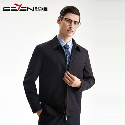 Seven7 Áo khoác Qi thương hiệu áo khoác nam trung niên nam ve áo màu rắn kinh doanh bình thường cha