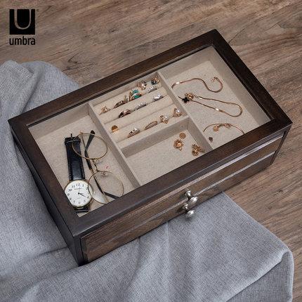Umbra Hộp trang sức  hộp trang sức hộp lưu trữ cao cấp công chúa gỗ rắn phong cách châu Âu ins gió g