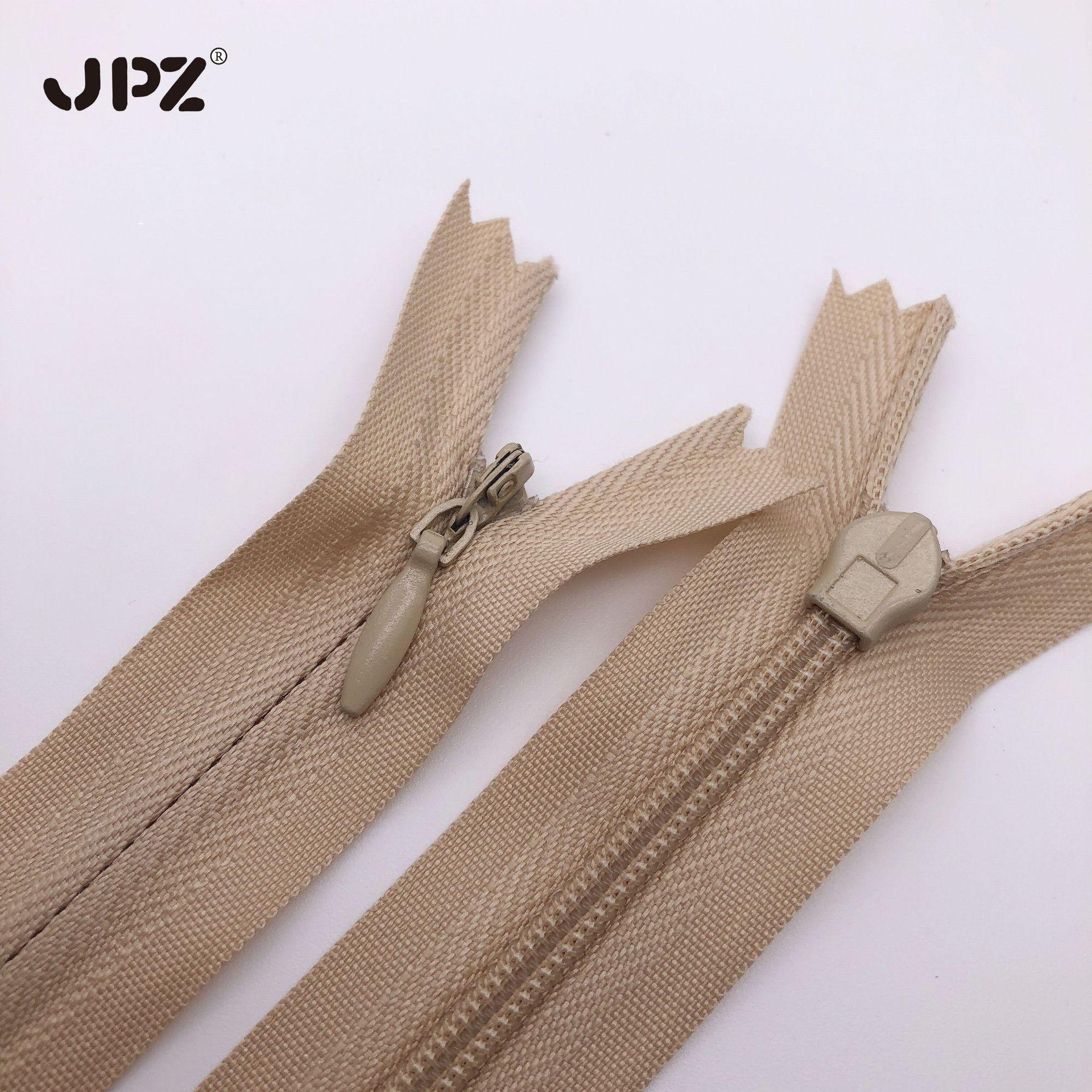 JPZ Dây kéo Nylon Nhà máy bán buôn số 3 cạnh vải dây kéo vô hình nylon ren tại chỗ gối gối dây kéo c