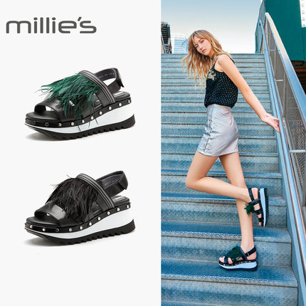 Millie's giày bánh mì / giày Platform / Miao Lixia mall phong cách thể thao da cừu lông dày nền tản