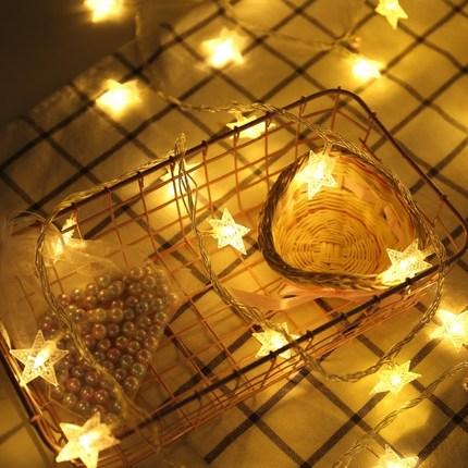 Đèn trang trì  Sao và đèn lồng Chiếu sáng lưới đỏ trang trí phòng nhỏ