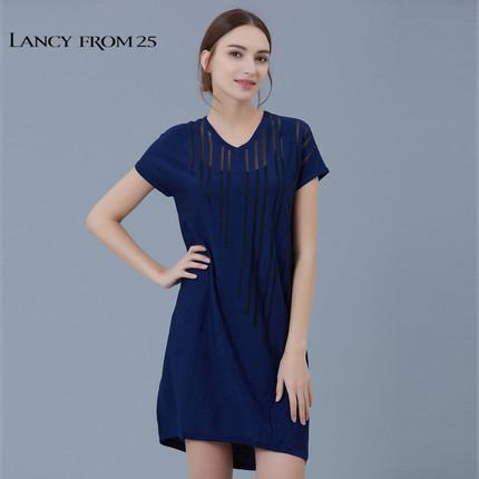 LANCY FROM 25 Thời trang nữ LANCY Langzi nữ mùa hè màu rắn sọc kẻ lưới trong suốt LA16203KOP336